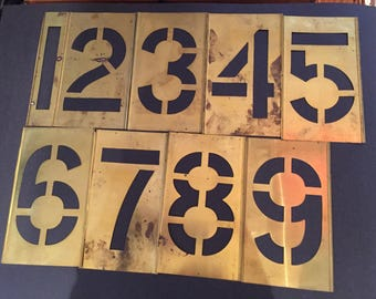 "Vintage set 6"" stencils numbers brass Reese's Lockedge original never used"