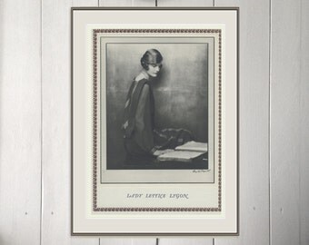 Art Deco Flapper, Lady Lettice Lygon in Photgravure, Monochrome Photo, 1926/17, Vintage Art Deco, Vintage Sepia Print, 1920s Flapper