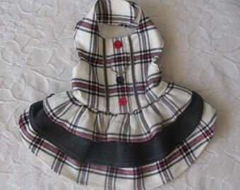 Dog Harness Dress Plaid Flannel XS