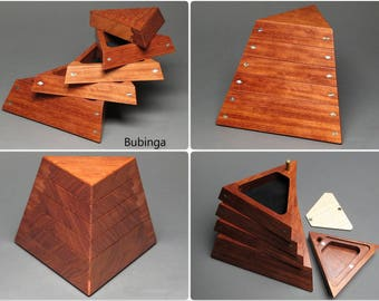 Handcrafted Jewelry Box with Secret Compartment and Weighted Base, 'The Trapezoid Box'