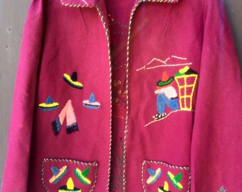 Vintage southwestern embroidered wool Mexican maroon colored  jacket size small