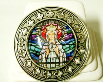 Our Lady of Knock stained glass window pin/brooch - BR10-081