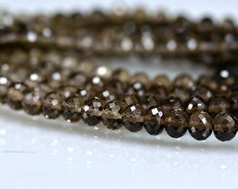 Smokey Quartz Rondelles AAA Micro Faceted 4-4.30mm, 8 inches