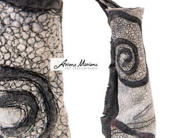 Reversible Fiber Art Sculpture  - Free Motion Embroidery Art on Handmade Felt Art - Art Textile Paris