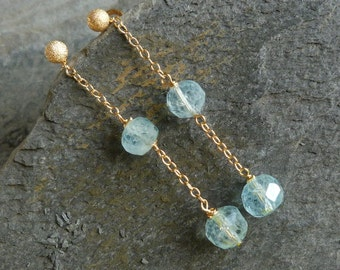 Earrings with 18 kt yellow gold and aquamarines, IMPORTANT, French vat is included,off 20% for US and canadian buyers
