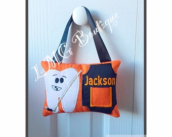 Hockey Tooth fairy pillow, Personalized pillow, Personalized Boys or Girls Tooth Fairy Pillow , Boy embroidered tooth fairy pillow