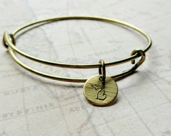 Michigan bracelet. Expandable. Bronze. Hand stamped. Smitten with the mitten. Michigan. Michigan jewelry. Antique bronze. Lead free.