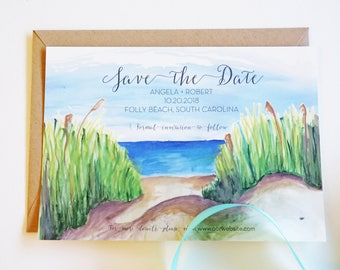 Beach Wedding Save the Date, Watercolor, Charleston Save the Date, Destination Wedding Save the Date, Custom Invitations, Personalized