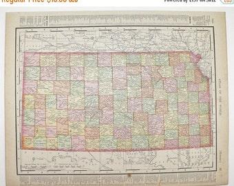 Antique Map of Kansas Nebraska Map 1900 Midwest State Map, Vintage Wall Art Gift for Couple, Geography Gift for Teacher, KS Map NE Map
