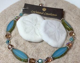Sterling Silver, Czech Glass, and Swarovski Austrian Crystal Bracelet
