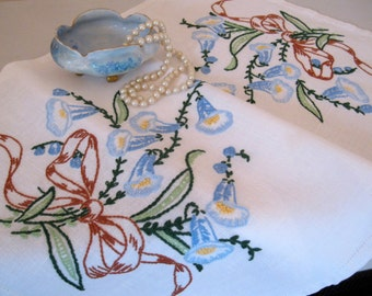 Hand Embroidered Flowers on a linen runner, Dresser Scarf, Shabby French, Cottage Charm, Bluebells, by mailordervintage on etsy