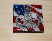 EOD Master Badge with flag  2X2 Square Magnet, Magnet bulletin board, Refrigerator Magnet