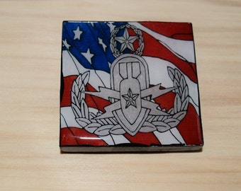 EOD Master Badge with flag  2X2 Square Magnet, Magnet bulletin board, Refrigerator Magnet
