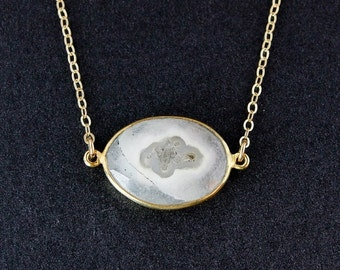 CHRISTMAS SALE Solar Quartz Necklace - 14k Gold Fill Chain