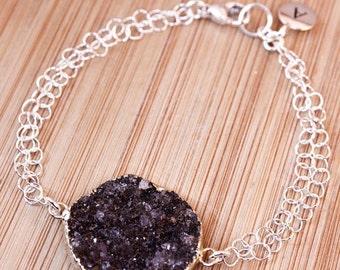 50 OFF SALE Silver Black Druzy Bracelet - Initial Bracelet - Choose Your Stone