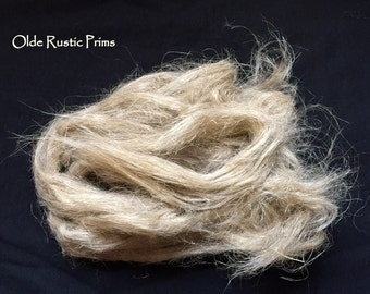 NEW Raw Flax Fiber for Extreme Primitive Doll Hair---Prim Dolls---Now CHOOSE 1 or 2 Ounce Bags!!!