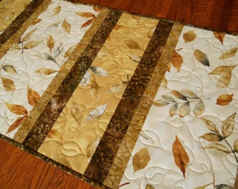 Dining Table Decor, Quilted Table Runner with Leaves in Cream Gold and Brown, Modern Neutral Table Runner, Autumn Fall Table Decor