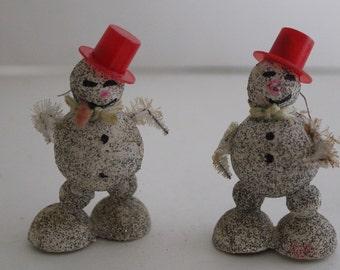 Vintage Mica Glitter Snowman Ornaments