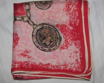 Vintage Small Square Silk Scarf - Red with Charm Bracelet, Old Coins - Pretty Red, Pink and Gold Colourway, with Coin Theme