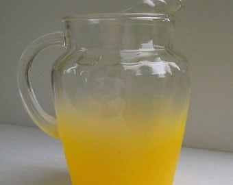 ON SALE Vintage Yellow Frosted Pitcher