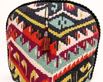 Tea Cozy / Cosy-  Tribal Multi Color Cotton with Tassell
