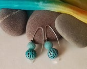 Turquoise Felt and Enamel Drop Earrings