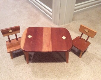 Strombecker Vintage Wooden Toy Table and Chairs with a leaf/ 1960's/vintage doll table
