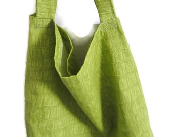 Tote Bag, Large Shopping Bag, Grocery Bag, Green, Project Bag, Cotton Market Bag, Eco Friendly, Heavy Cotton