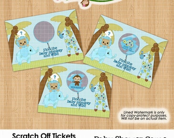 Jungle Safari Animal Baby Shower Scratch Off Tickets (quantity of 10 set) Cards ticket scratchers game blue boys SHIPPED item Design #351