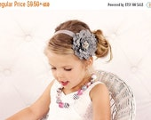 Gray Flower Headband, Velvety Flower w/ Pearl & Crystal Center Silver Headband or Hair Clip, The Eva, Baby Toddler Child Girls Headband