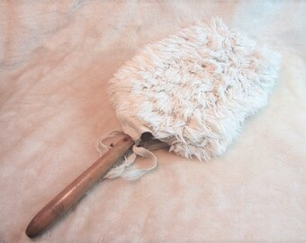 """Vintage Washable Duster With Removeable Outside and Wire Inside, 19"""" Duster, Cotton Head Duster, Old Fashion Duster, Grandma's Duster"""