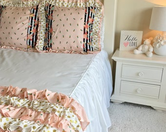 Twin or Full White Children's Bedding, Girl Bedding, Twin Bedding, Full Bedding, Pineapple Bedding, Floral Bedding, Stripe Bedding