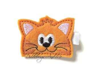 Orange Kitty Hair Clip, Peeking Cat Hair Clip, Animal Hair Clip, Felt Hair Clip, Girls Kitty Hair Clip, Toddler Hair Clip, Girls Clips