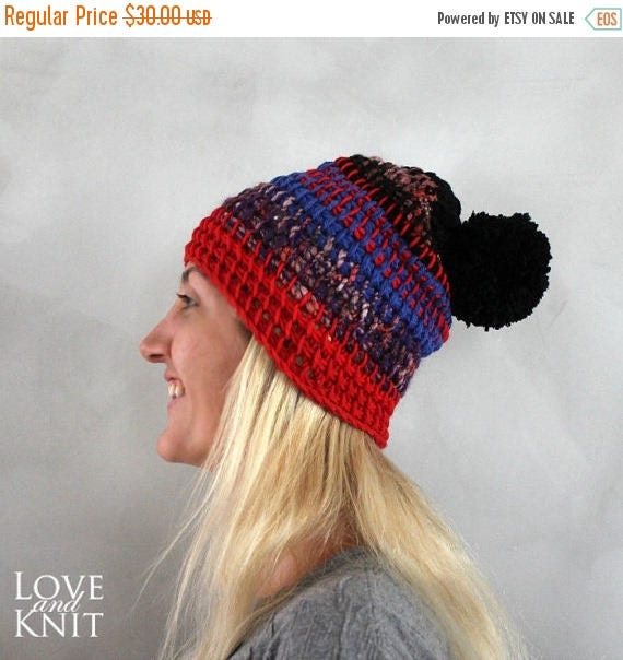 5fb5be307bd Sale crochet hat beanie slouchy crochet hat slouchy skull cap red pom pom beanie  winter hat