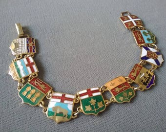 Canada Souvenir Enamel Sheilds Bracelet Canadian Provinces Vintage Made In Canada Free Shipping To The Usa And Canada