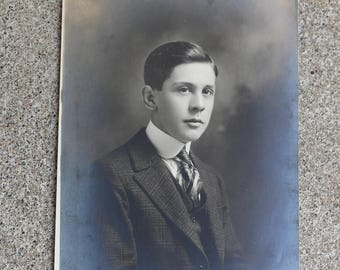Vintage Antique Photograph Young Man Boy Graduate High School College Altered Art Mixed Media Supply Portrait Black White Prop