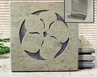 Etched Natural Stone Coaster Set with Holder - Flower / Pansy on Buff Slate