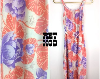 Pretty Vintage 70s 80s Pastel Pink and Purple Floral Sun Dress!