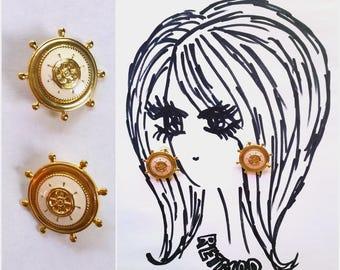 Nautical Vintage 90s Gold and Cream Enamel Boat Steering Wheel Helm Earrings