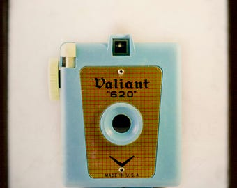 Teal Blue Vintage Camera Wall Art, Valiant 620, Retro Camera Photography, robin egg blue, Collectible Art Print, TTV, Camera Home Decor