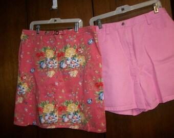 Selection~ PInk  Denim  Skirt or Walking  Shorts   sz 14