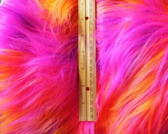 "Long 4"" Orange Purple Hot Pink Mix Fur Fabric"
