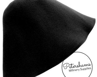 Peachbloom / Velour Finish Fur Felt Cone Hat Body for Millinery & Hat Making - Black
