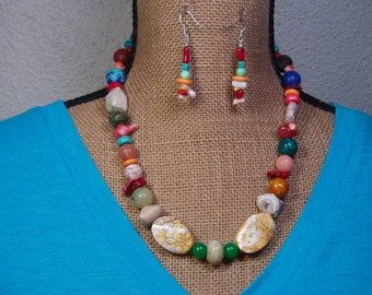 Abstract Festive Mixed Gem 925 Silver Necklace and Earrings