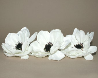 3 Creamy White Satin Look Anemone - Artificial Flowers