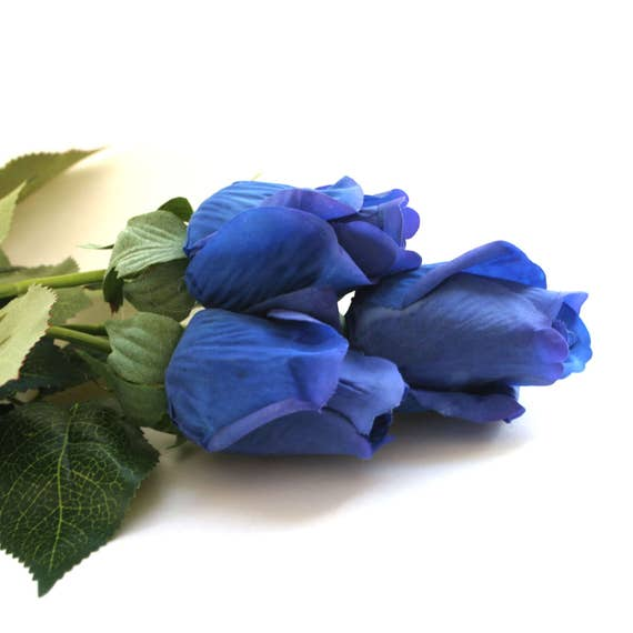 3 long stem gorgeous real touch royal or navy blue rose for Blue long stem roses