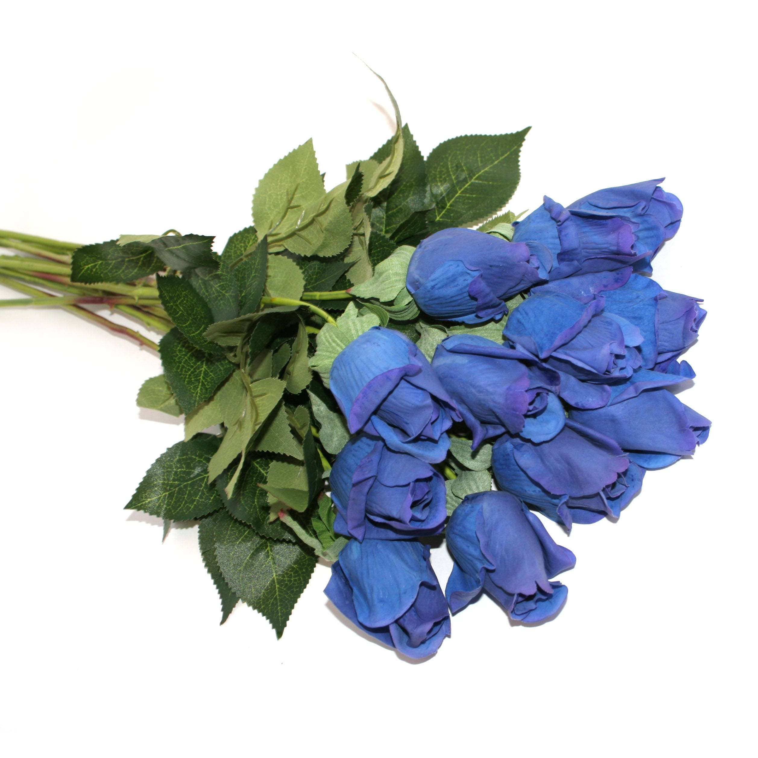 12 Long Stem Gorgeous Real Touch Royal Or Navy Blue Rose Buds