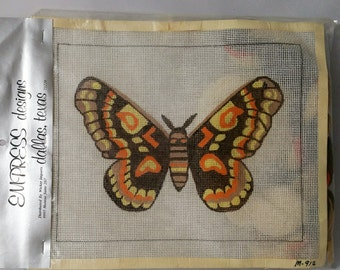 Vintage Empress Designs Moth Butterfly Brown Orange Yellow Needlepoint Kit M912