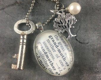 One Word Pendant with Vintage Key - Grandmother