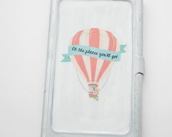 Oh the places you'll go - Business Card Holder - Graduation Gift, Gift for her, Promotion gift, New Venture, hot air balloon, adventure